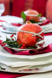 Decorated Christmas Dinner Table Royalty Free Stock Photo
