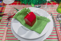 Decorated Christmas Dinner Table Setting Stock Images