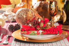 Decorated Christmas Dinner Table Setting. Decorated Christmas Dinner Table with studio lighting Royalty Free Stock Photos