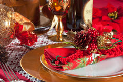 Decorated Christmas Dinner Table Setting. Decorated Christmas Dinner Table with studio lighting Stock Photography