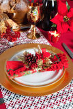 Decorated Christmas Dinner Table Setting. Decorated Christmas Dinner Table with studio lighting Royalty Free Stock Images