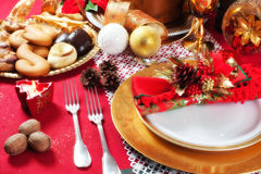Decorated Christmas Dinner Table Setting. Decorated Christmas Dinner Table with studio lighting Royalty Free Stock Photography