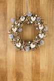 Decorated Christmas Door Wreath Birch Hearts and Pine Cones on S Royalty Free Stock Image