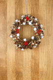 Decorated Christmas Door Wreath Cinnamon, Anise and Pine Cones o Stock Images