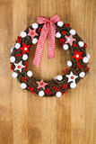 Decorated Christmas Door Wreath Red White Cloth Stars and Gingha Stock Photography
