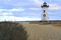 Decorated for Christmas, Edgartown Lighthouse, Martha`s Vineyard, Cape Cod Massachusetts. Edgartown Lighthouse, Edgartown Massachusetts, Martha`s Vineyard, Cape Stock Image