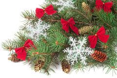 Decorated Christmas fir branch isolated on white background.  Royalty Free Stock Photo