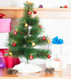 Decorated Christmas fir tree Stock Photo