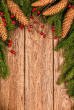 Decorated Christmas fir tree on a wooden planks Royalty Free Stock Photos