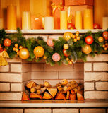 Decorated Christmas fireplace Royalty Free Stock Photography