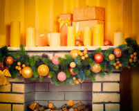 Decorated Christmas fireplace Royalty Free Stock Images