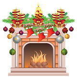 Decorated Christmas Fireplace. Element of the interior living room classic fireplace decorated for Christmas Royalty Free Stock Image