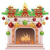 Decorated Christmas Fireplace. Element of the interior living room classic fireplace decorated for Christmas Royalty Free Stock Photo