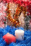 Decorated Christmas Garland with balls Stock Photos