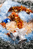 Decorated Christmas Garland with handbell. Lighte Decorated Christmas Garland with handbell Royalty Free Stock Photography