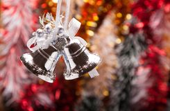 Decorated Christmas Garland with handbell Stock Photo