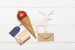 Decorated Christmas gift on vintage white background Royalty Free Stock Images
