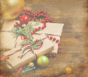 Decorated Christmas gifts, Christmas decorations and garlands Stock Image