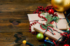 Decorated Christmas gifts, Christmas decorations and garlands Royalty Free Stock Photography
