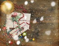 Decorated Christmas gifts, Christmas decorations and garlands Royalty Free Stock Photos