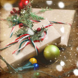 Decorated Christmas gifts, Christmas decorations and garlands Stock Photo