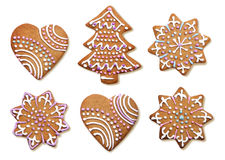 Decorated Christmas gingerbread cookies isolated royalty free stock photos