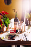 Decorated Christmas holiday table ready for dinner Royalty Free Stock Image