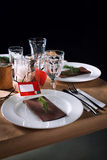 Decorated Christmas holiday table ready for dinner Stock Photography