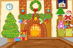 Decorated Christmas House. Easy to edit vector illustration of Royalty Free Stock Photo