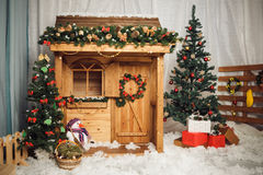Decorated christmas house. New year Royalty Free Stock Images