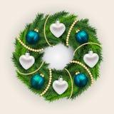 Decorated Christmas pine wreath Stock Photos