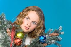 Decorated Christmas portrait of blond woman Stock Photos