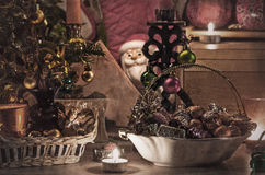 Decorated Christmas. Postcard in the old style with the Christmas decorations Stock Photos