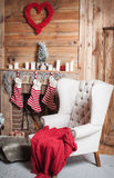 Decorated Christmas room with beautiful fir tree Royalty Free Stock Images
