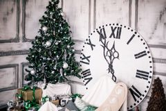 Decorated Christmas room with beautiful fir tree, new year background Stock Photos