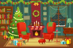 Decorated christmas room. Winter holiday interior decorations, armchair near fireplace and xmas tree vector background stock illustration