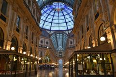 The decorated for Christmas shopping mall - Vittorio Emanuele II Gallery at dawn. stock photos