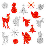 Decorated christmas silhouettes Stock Photos