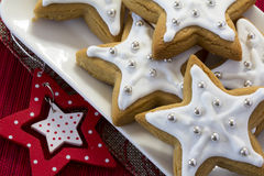 Decorated Christmas Star Cookies Royalty Free Stock Photos