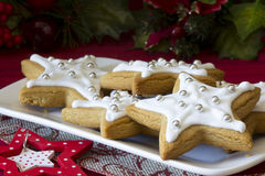 Decorated Christmas Star Cookies on a Plate Stock Images