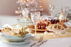 Decorated Christmas table Royalty Free Stock Photography