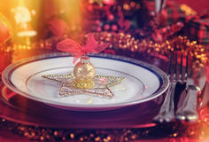 Decorated Christmas Table Royalty Free Stock Images