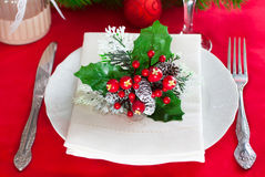 Decorated Christmas table setting Stock Photography