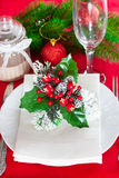Decorated Christmas table setting Royalty Free Stock Photo