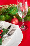 Decorated Christmas table setting Stock Photos