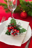 Decorated Christmas table setting Stock Images