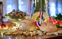 Christmas table with bread Royalty Free Stock Images