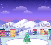 Decorated Christmas Town with Houses and Ice. Stock Photos