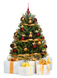 Decorated Christmas tree. On white background Royalty Free Stock Photo