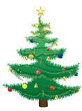 Decorated Christmas tree. Illustration of Christmas tree decorated with colorful baubles and candy canes Royalty Free Stock Photos